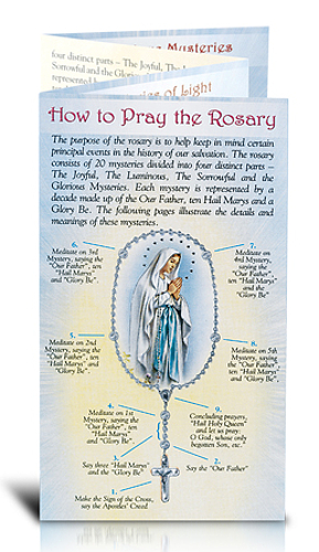 Pamphlet Pray the Rosary Quad-Fold Stamped